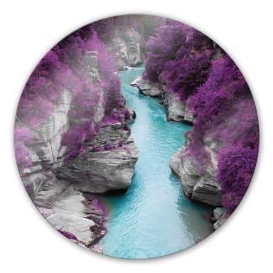 Glasbild Kawarau River - rund