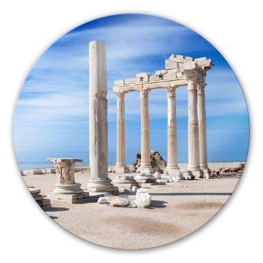 Glasbild Ruinen der Antike - rund