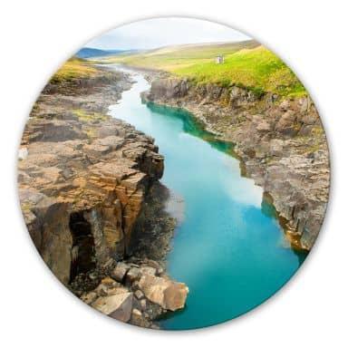 Glasbild Bergschlucht - rund