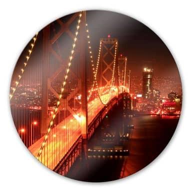 Glasbild Lights in San Francisco - rund