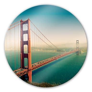 Glasbild Die Stadt an der Bucht - rund