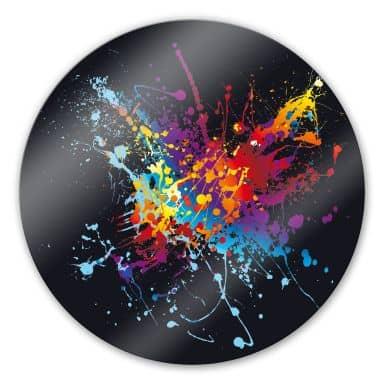 Tableau en verre - Explosion de couleurs - rond