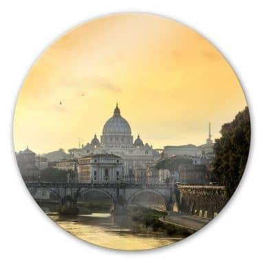 Glasbild Engelsbrücke mit Petersdom - rund