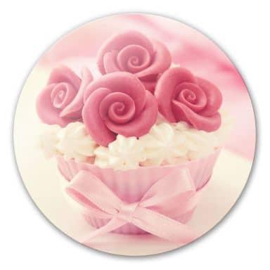 Glasbild Roses on Cupcake - rund