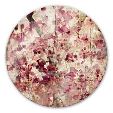 Tableau en verre - Dessin Floral Vintage - rond