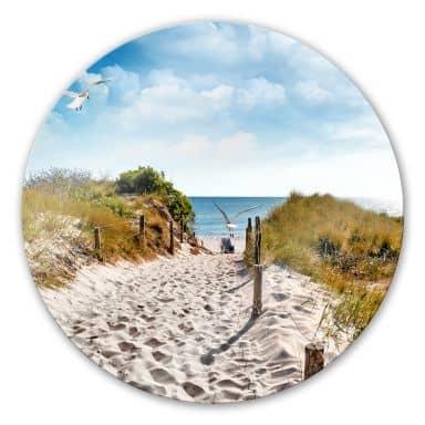 Way to the Beach Glass art - round