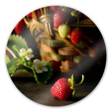 Glasbild Erdbeerkörbchen - rund