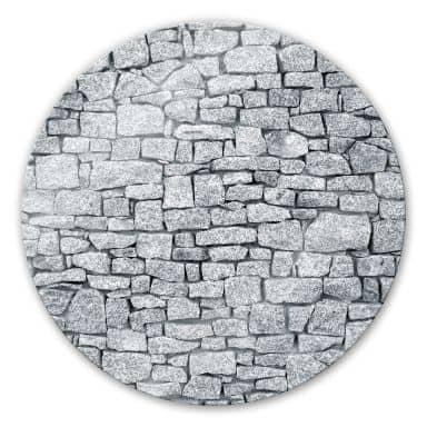 Glasbild Granitmauer - rund