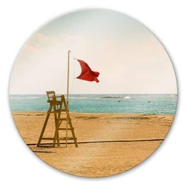 Glasbild Rote Fahne - rund