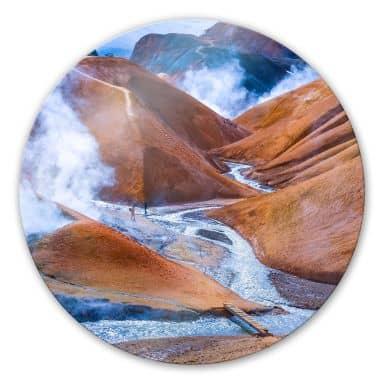 Glasbild Vulkanisches Bergland Islands - rund