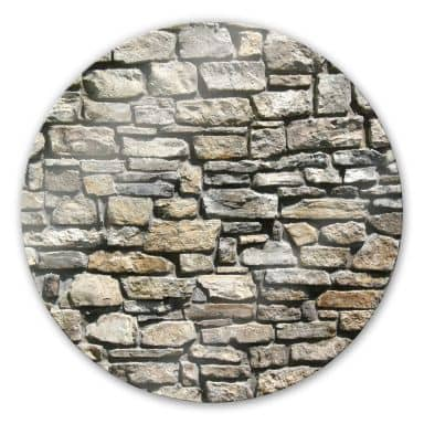 Natural stone wall Glass art - round