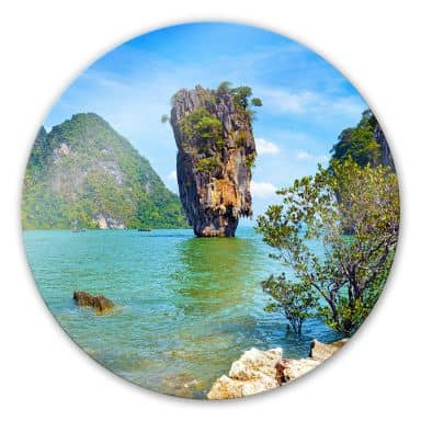 Khao Ta-Pu Island Glass art - round