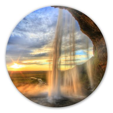 Seljalandsfoss Waterfall - Round Glass art