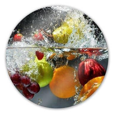 Tableau en verre - Fruits rafraîchissants - rond