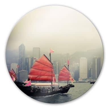 Sailing in Hongkong Glass art - round
