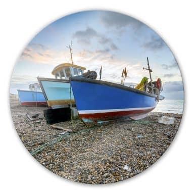 Glasbild Fischereiboote - rund