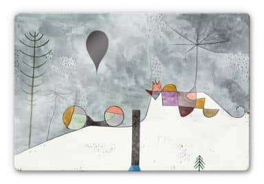 Glasbild Klee - Winterbild