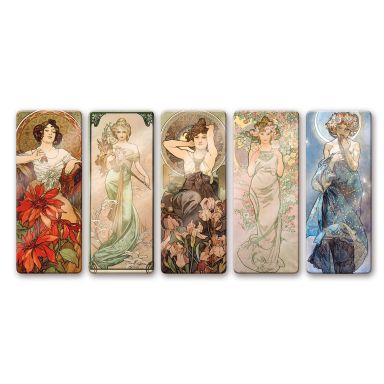 Mucha Glass art (5 parts)