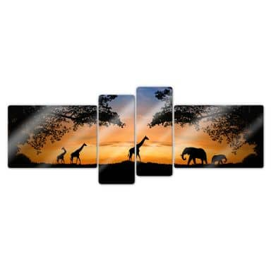 African Sunset (4 parts) Glass art