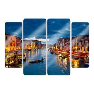 Glasbild Canal Grande in Venedig (4-teilig)