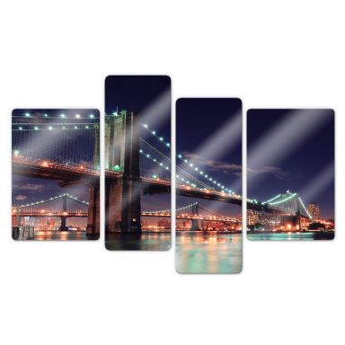 Manhattan Bridge at Night 2 (4 parts) Glass art