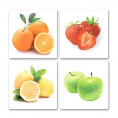 Glasbild Obst Set (4-teilig)