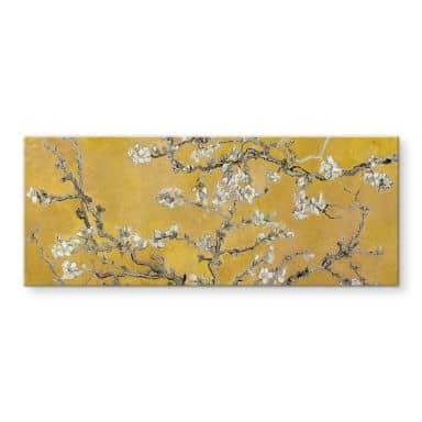 Glasschilderij van Gogh - Amandelbloesem oker (panorama)