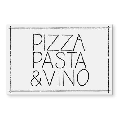 Glasbild Pizza Pasta & Vino weiß