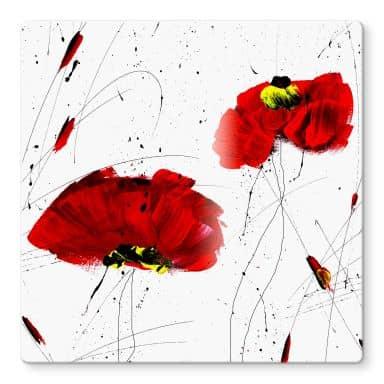 Niksic - Red Poppies Glass art