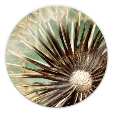 Dandelion-Poetry - Round Glass art