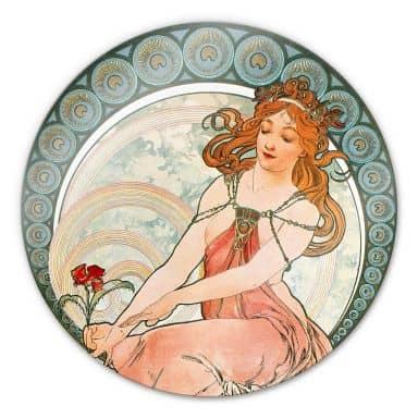 Glasbild Mucha - Die Malerei - rund