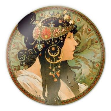 Mucha - The brunette Glass art - round