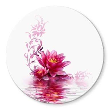Flower magic Glass art - round