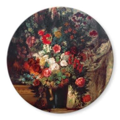 Glasbild Delacroix - Vase mit Blumen auf einer Konsole - Rund