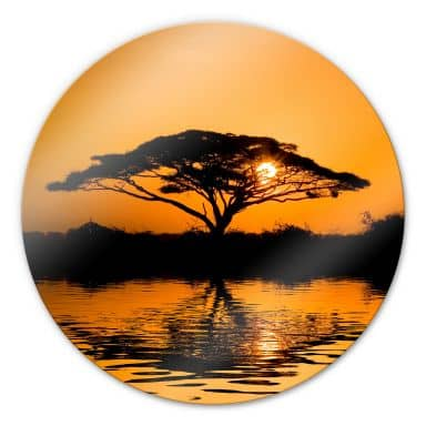 Africa Glass art - round