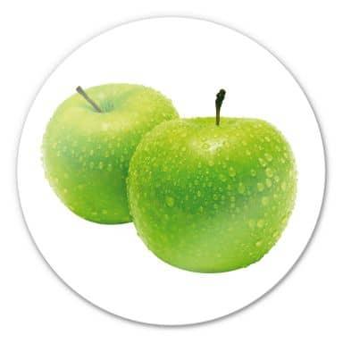 Glasbild Green Apple - rund