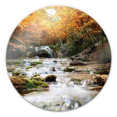 Tableau en verre - Cascade d'eau en automne - Rond