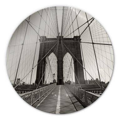 Brooklyn Bridge Perspective Glass art - round