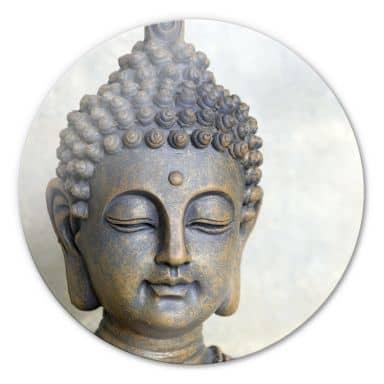 Glasbild Buddha Gesicht - rund