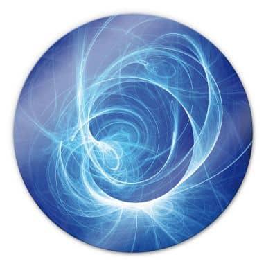 Chaos Ray Blue Glass art - round
