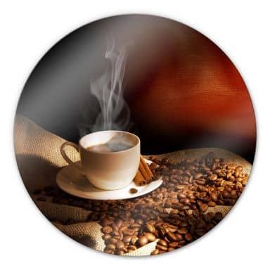 Glasbild Coffee 3 - rund