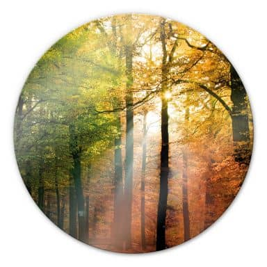 Golden Autumn - Round Glass art