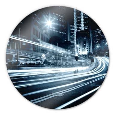 Glasbild Lichter der Stadt - rund