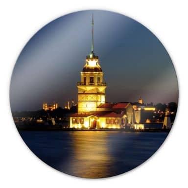 Glasbild Mädchenturm - rund