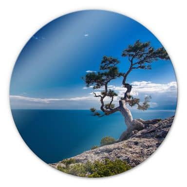 Sea and Tree - Round Glass art
