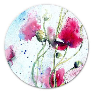 Watercolour Poppies Glass art - round