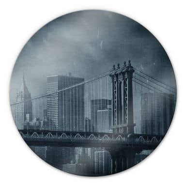 Glasbild New York Bridge - rund