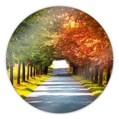Glasbild Herbst - rund