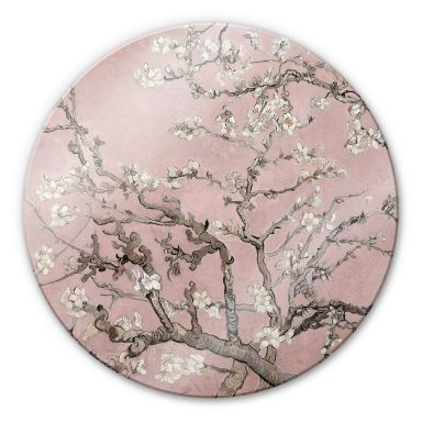 Glasbild van Gogh - Mandelblüte Rosé - Rund