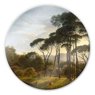 Glasbild Voogd - Italienische Landschaft mit Schirmkiefern - Rund